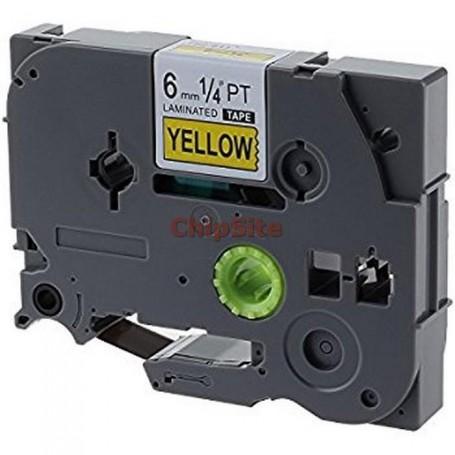 Brother TZE-611 Black / Yellow Fita Laminada Compatível