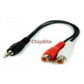 Cabo audio Jack 3.5mm Macho a 2 conectores RCA Fêmea