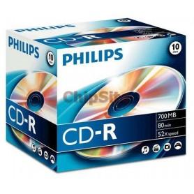 PHILIPS CD-R 80Min 700MB 52x Jewel Case (10 unidades)