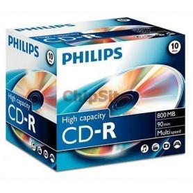 PHILIPS CD-R 90Min 800MB 40x Jewel Case (10 unidades)