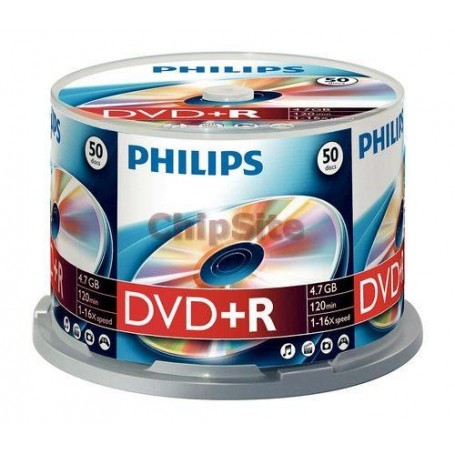 PHILIPS DVD+R 4,7GB 16x Cakebox (50 unidades)