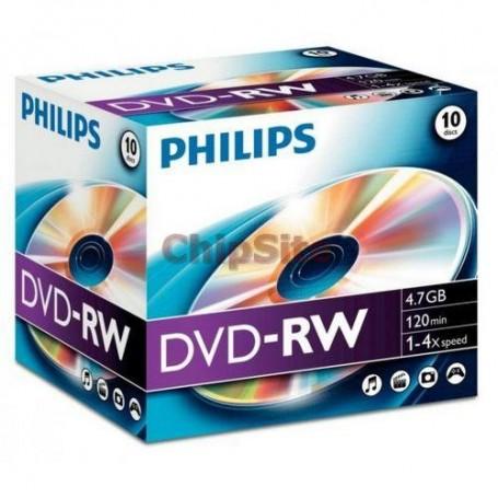 PHILIPS DVD-RW 4,7GB 4x Jewel Case (5 unidades)