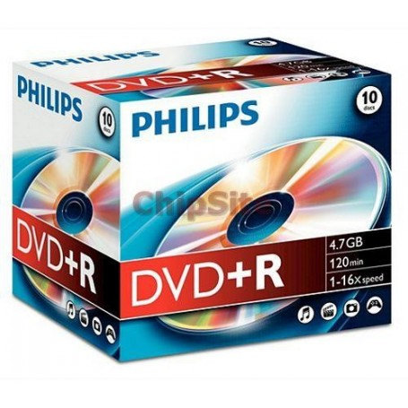 PHILIPS  DVD+R 4,7GB 16x Jewel Case (10 unidades)