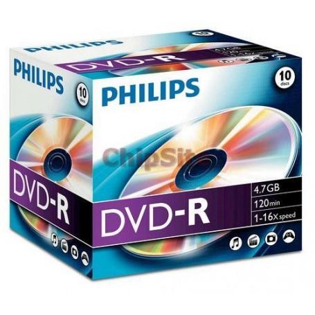 PHILIPS DVD-R 4,7GB 16X Jewel Case (10 unidades)