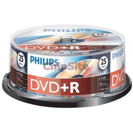 PHILIPS DVD+R 4,7GB 16x Cakebox (25 unidades)