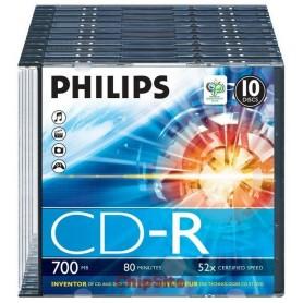 PHILIPS CD-R 80Min 700MB 52x Slim Case (10 unidades)
