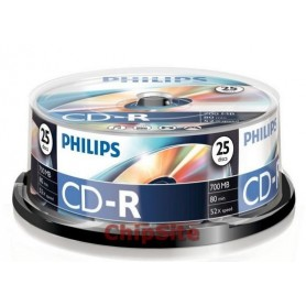 PHILIPS  CD-R 80Min 700MB 52x Cakebox (25 unidades)