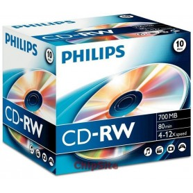 PHILIPS  CD-RW 80Min 700MB 4-12x Jewel Case (10 unidades)