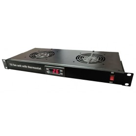 Conjunto ventilação 2 coolers e termostato 1U preto