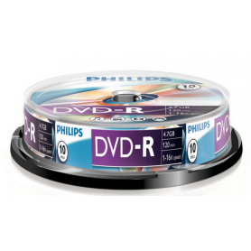PHILIPS DVD-R 4,7GB 16x Cakebox (10 unidades)