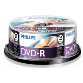PHILIPS DVD-R 4,7GB 16x Cakebox (25 unidades)