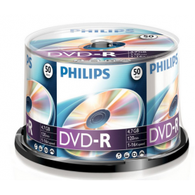 PHILIPS DVD-R 4,7GB 16x Cakebox (50 unidades)